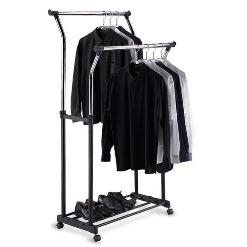 Awesome Organize It All Double Adjustable Garment Rack In Black U0026 Chrome