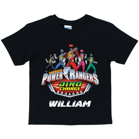 4beebea81c6 Personalized Power Rangers Dino Charge Boys  Black T-Shirt - Walmart.com