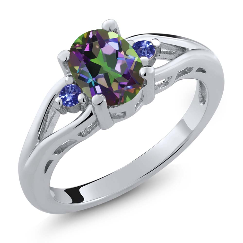 1.38 Ct Oval Green Mystic Topaz Blue Tanzanite 925 Sterling Silver Ring by