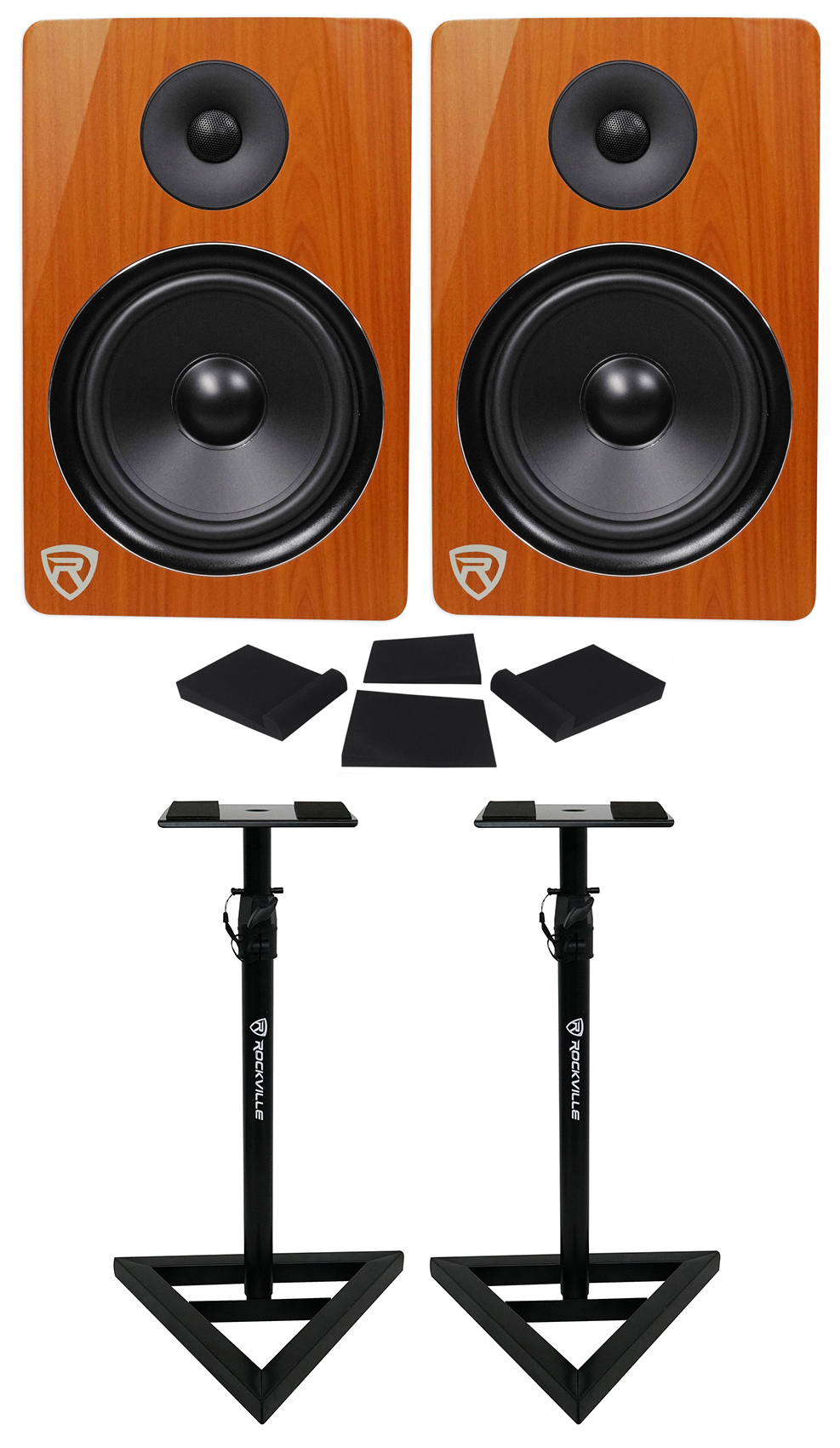 "2) Rockville DPM8C Dual Powered 8"" 600 Watt Active Studio Monitors+Stands+Pads by ROCKVILLE"