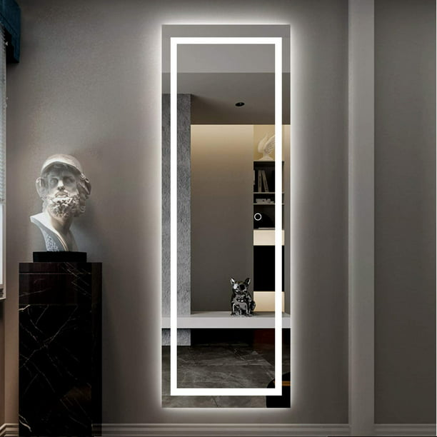 Led Mirror Full Length Mirror Wall Mounted Mirror With Lights Dressing Mirror For Bathroom Bedroom Living Room Dimmer Touch Switch Waterproof Led 65 X 22 Walmart Com Walmart Com