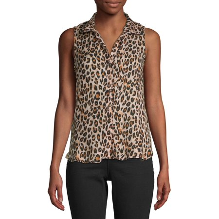 Floral Print Empire Tie Top - No Boundaries Juniors' Printed Sleeveless Top with Tie Front