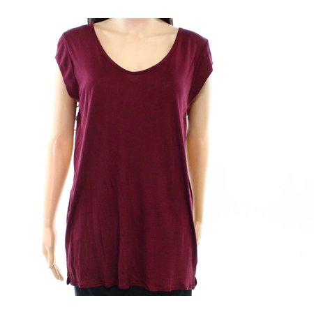 Valette NEW Burgundy Womens Size Large L Scoop Neck Side Vent Knit Top 448