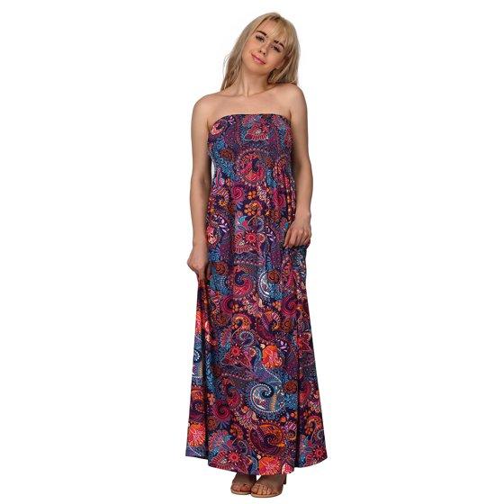 cd90b8fbf0 HDE Women's Strapless Maxi Dress Plus Size Tube Top Long Skirt Sundress  Cover Up (Pink Black Tribal, 4X)