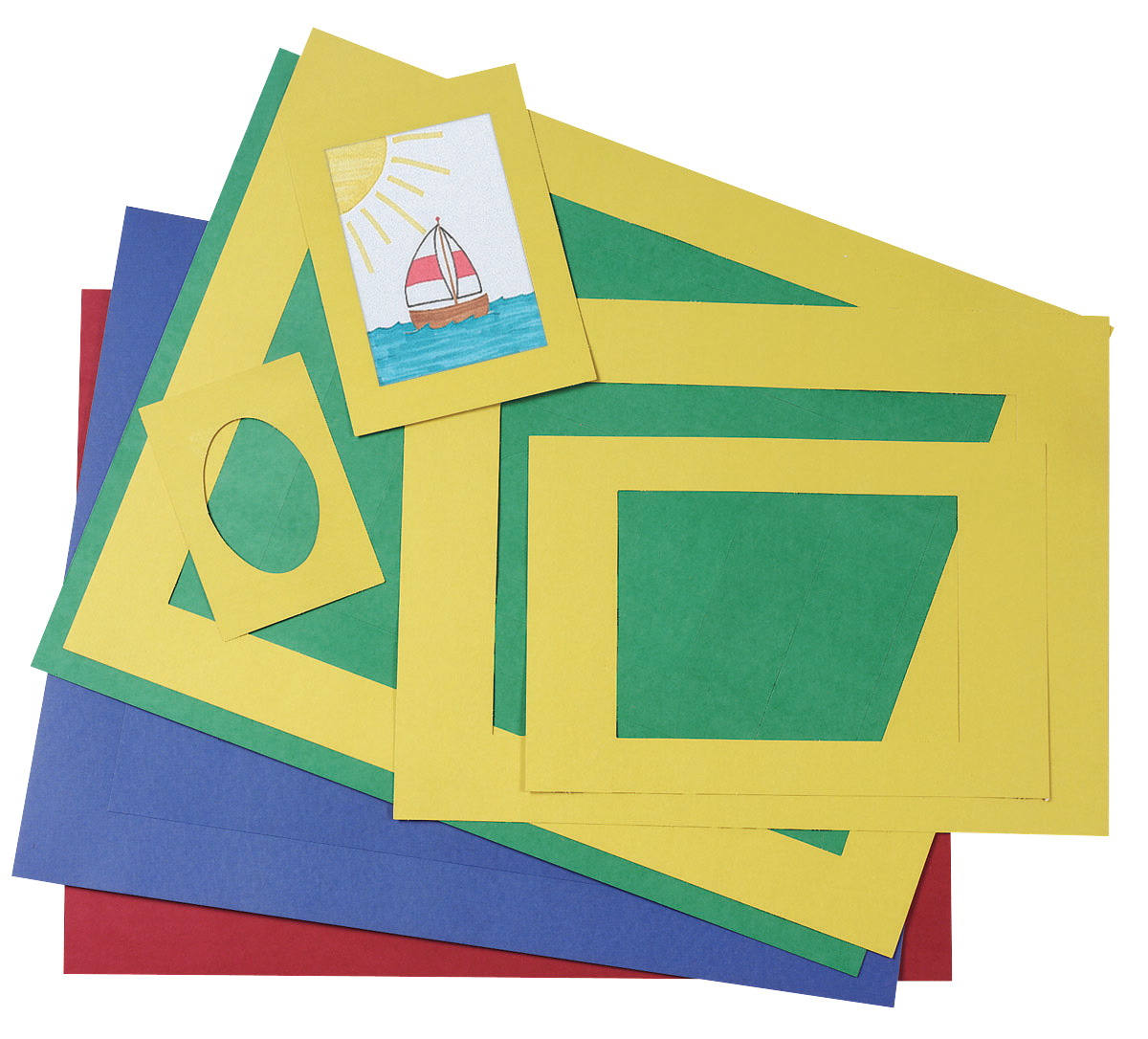 Pacon Pre-Cut Mat Frame, Assorted Sizes, Assorted Colors, Pack of 60