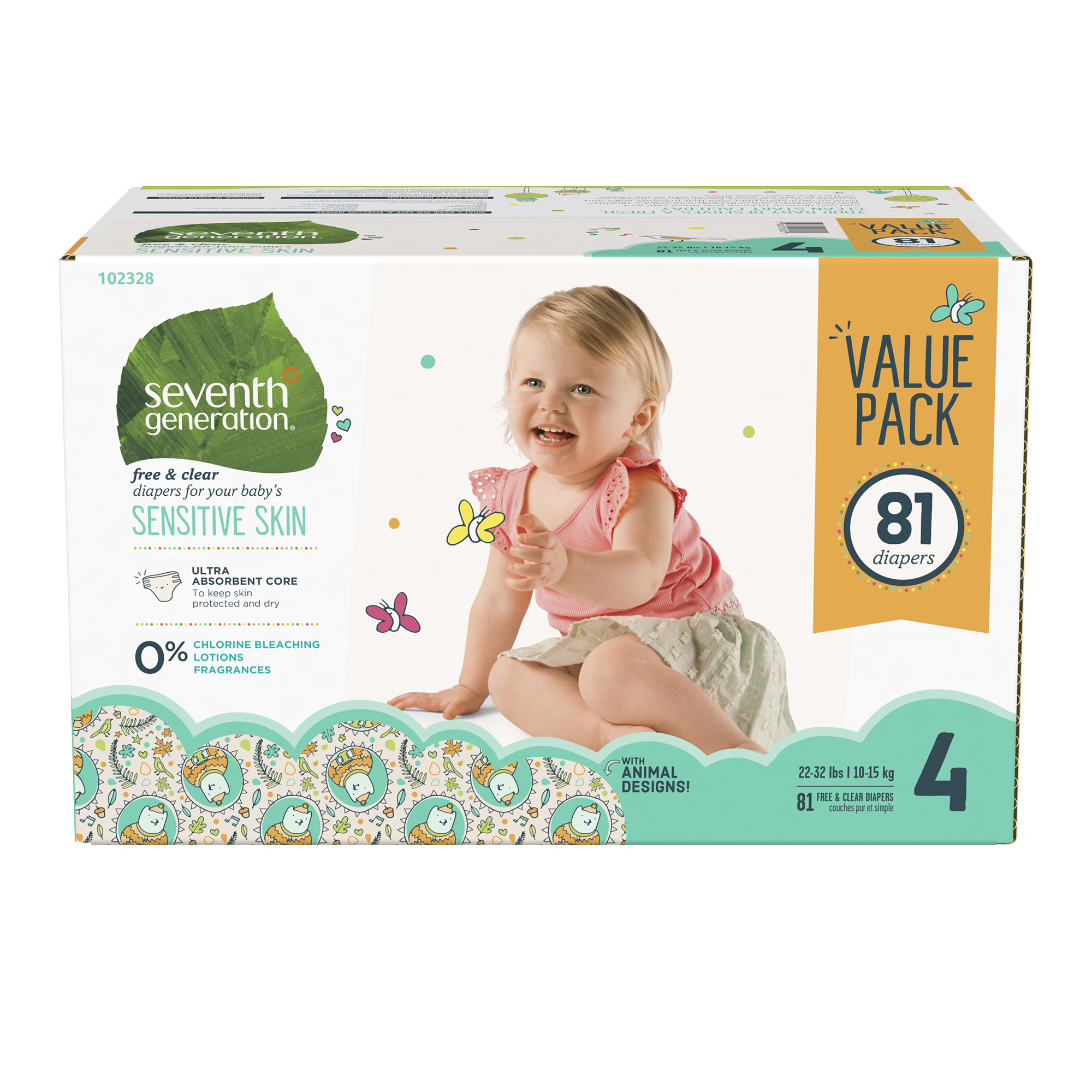 Seventh Generation Free & Clear Baby Diapers with Animal Prints Size 4, 22-37lbs 81 count