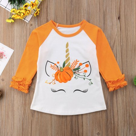 Halloween Kids Baby Girl Cotton Unicorn Tops Long Sleeve T-shirt Clothes