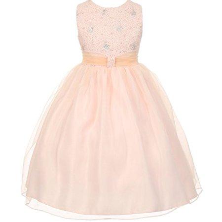 8eae5535339 BNY Corner - BNY Corner Flower Girl Dress Sparkly Bodice   Stylish Skirt  for Little Girl Blush 4 TR.1032 - Walmart.com