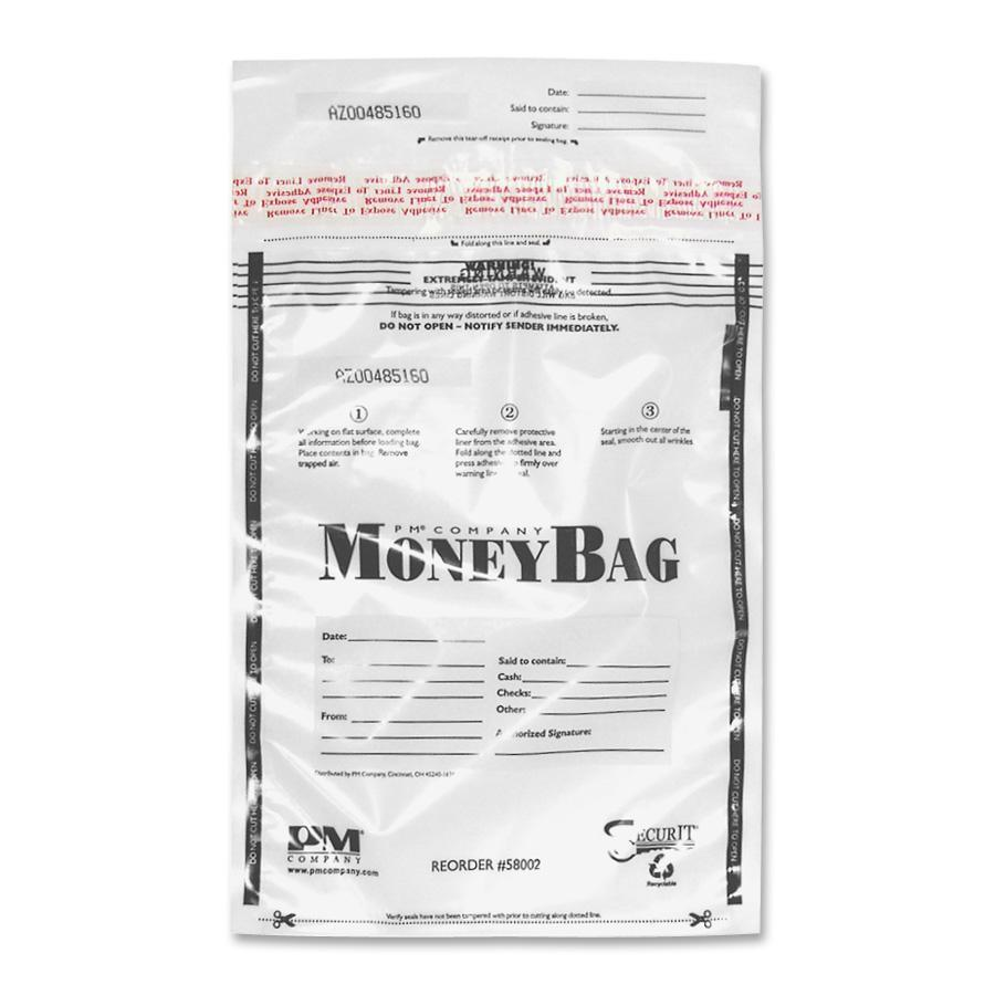 PM Disposable Deposit Money Bags, Clear, 100 / Pack (Quantity)