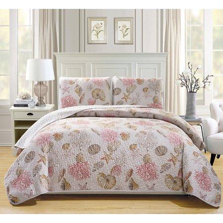 Fancy Linen 3pc Bedspread Coverlet Quilted Seashells Beige Red New #Seaside King