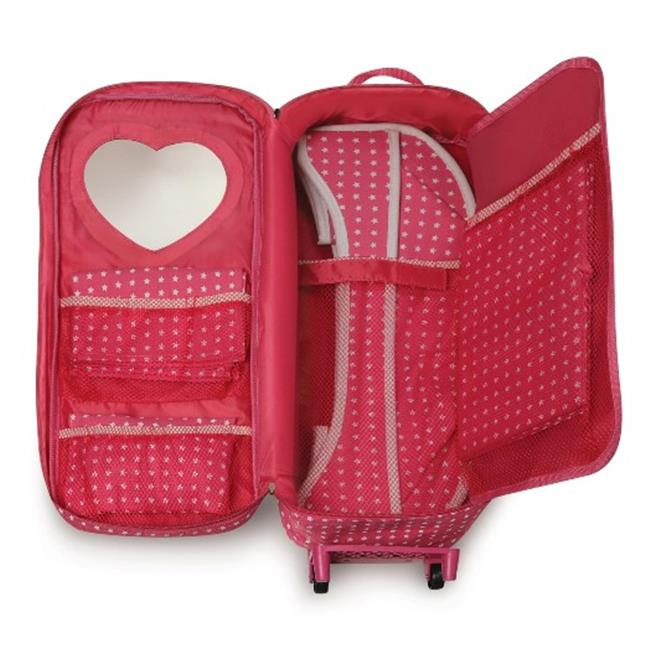 Badger Basket 14950 Trolley Doll Travel Case with Rocking Bed and Bedding Star Pattern by
