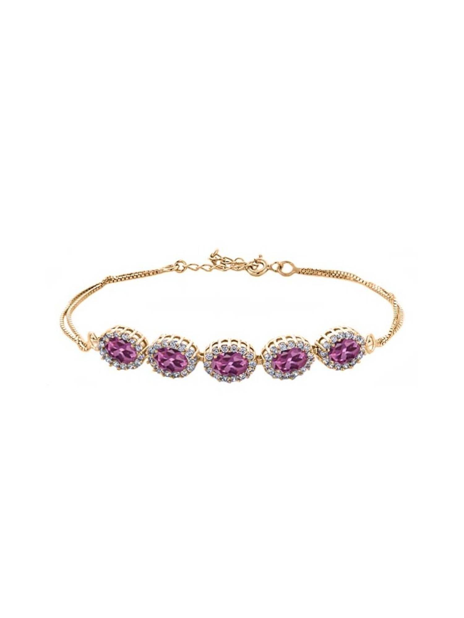 5.29 Ct Oval Pink Tourmaline 18K Yellow Gold Plated Silver Bracelet by