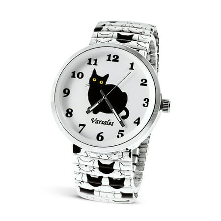 Women's Cat Lover's Cute Black and White Cat Watch with Quartz Movement, Silver Metal and Glass Case, White Stretchy Band for Girls, Women