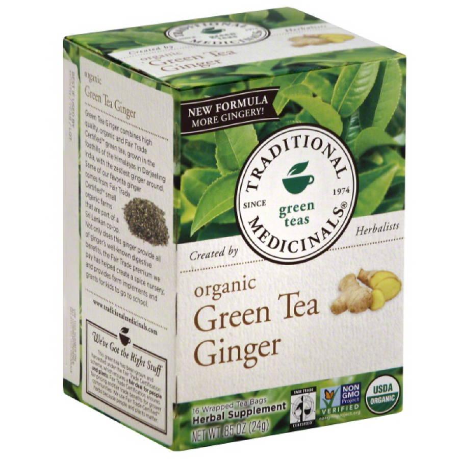 Traditional Medicinals Organic Ginger Green Tea, 0.85 oz, (Pack of 6)