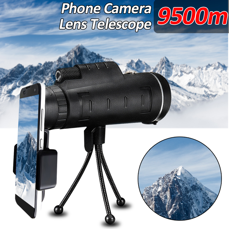 Universal 40X60 High Power Compact HD Dual Focus Monocular Telescope + Cell Phone Holder +Tripod Mount, Waterproof for Hunting Bird Camping Traveling Gifts