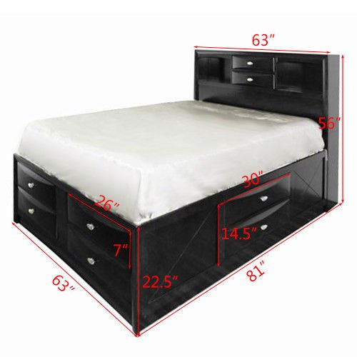 Costway Queen Size Bed Storage, King Storage Bed Frame Canada