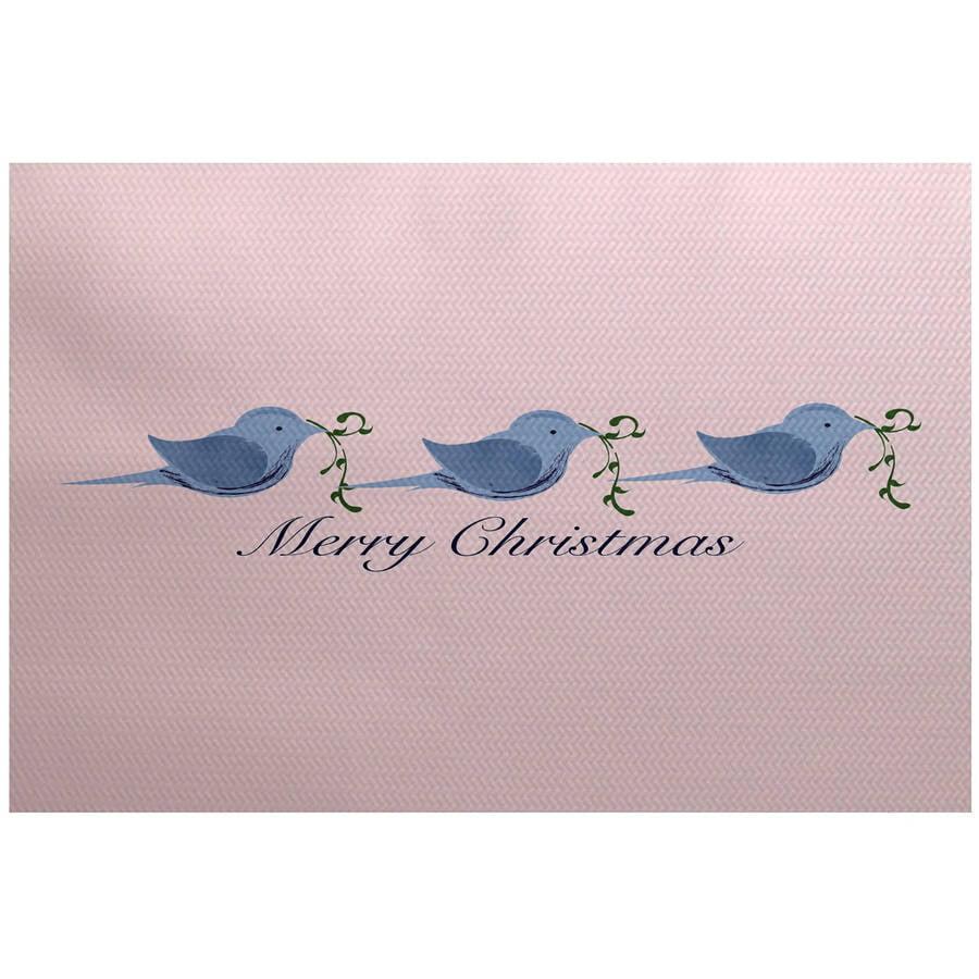 Simply Daisy 2' x 3' Merry Christmas Birds Word Print Indoor Rug