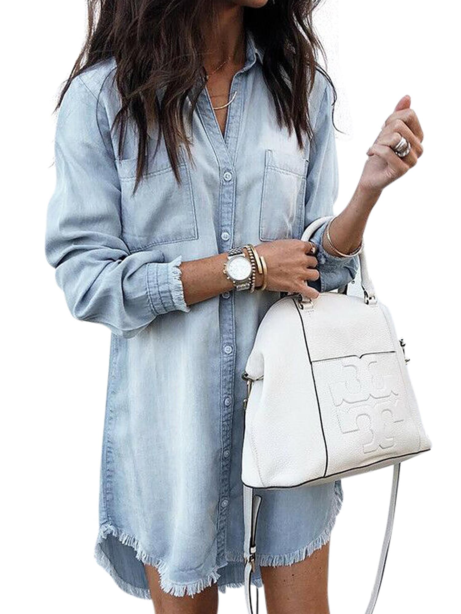Women Long Sleeve Casual Denim Mini Shirt Dress Ladies Long Lapel V Neck Blouse Tassel Denim Top T-Shirt Button Boyfriend Shirt Mini Dress Baggy Loose ...