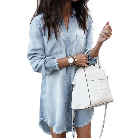 Plus Size Stylish Loose Thin Denim Shirt Dress For Women Ladies Lapel V Neck Long Jean Coat Outwear Tops Autumn Lapel Button Down Long Denim Jacket Tops