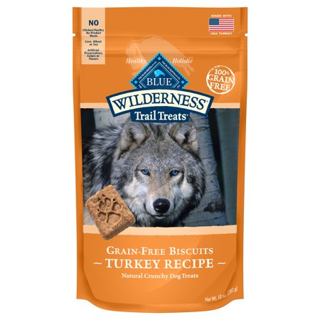 - Blue Buffalo Wilderness Trail Treats Grain Free Crunchy Dog Treats Biscuits, Turkey Recipe, 10-oz bag