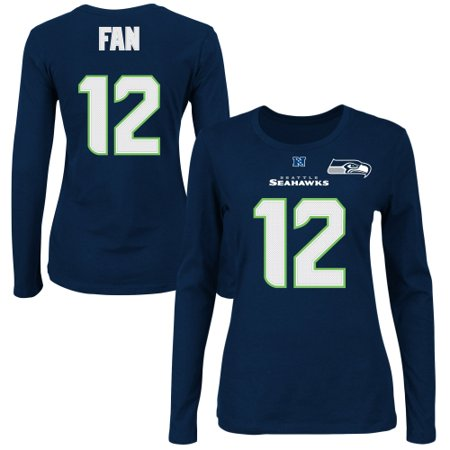 quality design 8e034 57d53 Fan 12 Seattle Seahawks Majestic Women's Fair Catch V Name & Number Long  Sleeve T-Shirt - College Navy