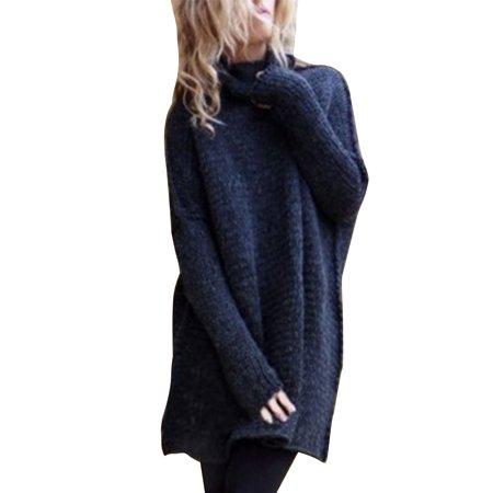 4145b47df8af85 Sexy Dance - Women Long Sleeve Loose Cardigan Knitted Sweater Jumper  Oversized Turtleneck Polo Neck Pullover Knitwear Outwear Coat - Walmart.com