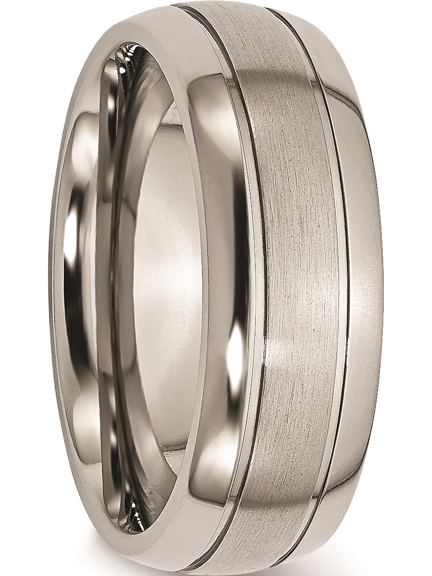 Bridal Titanium Grooved 8mm Polished Band
