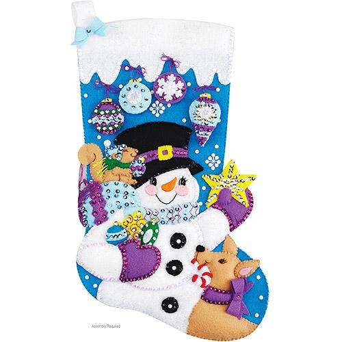 Janlynn Felt Applique Kit, Frosty's Favorite Ornament Stocking
