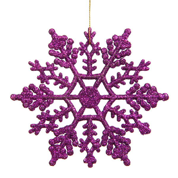 """Club Pack of 24 Purple Passion Glitter Snowflake Christmas Ornaments 4"""""""