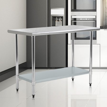 Stainless Steel Kitchen Work Table Commercial Restaurant Table, 24 X 48 (24 X 24 Stainless Steel Prep Table)