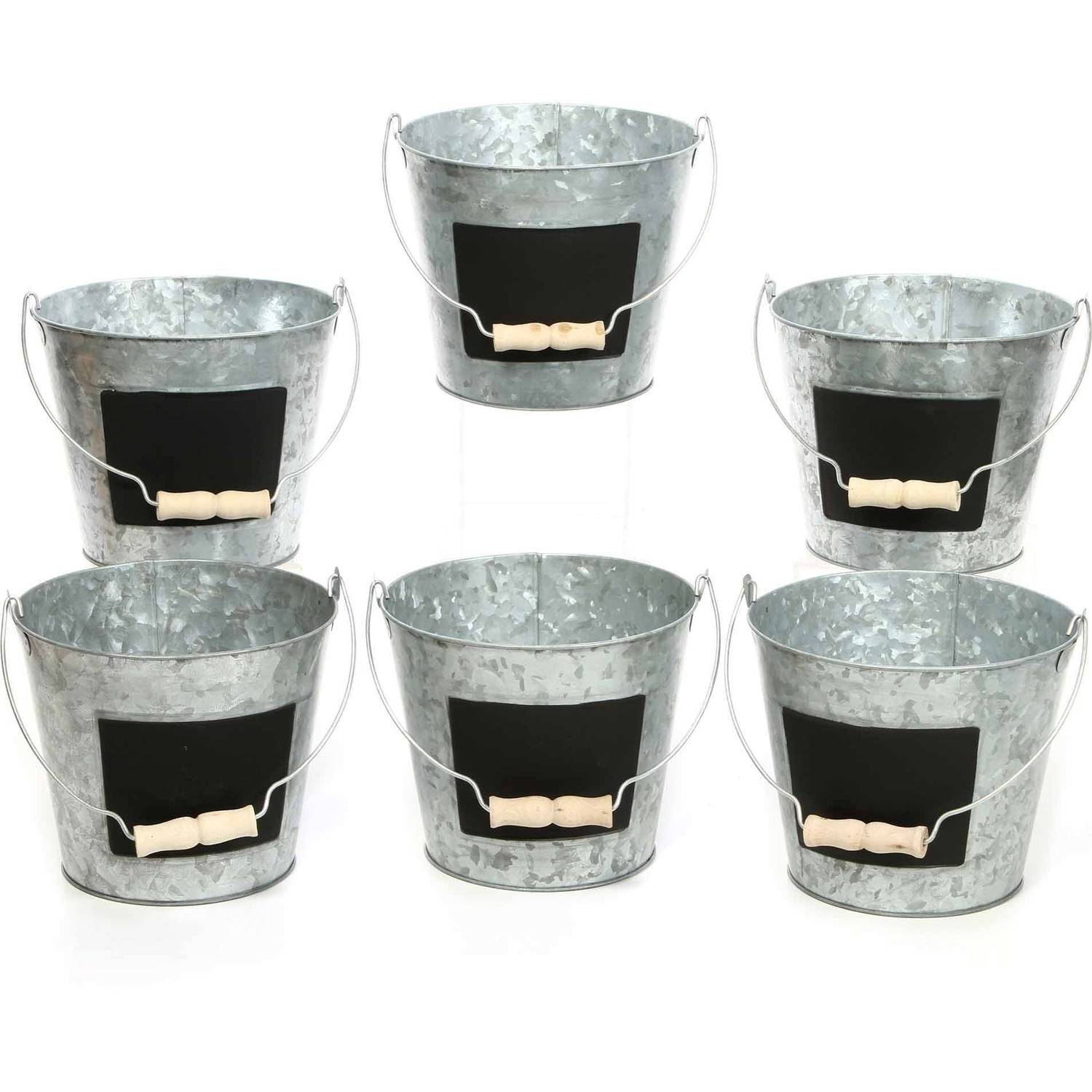 Elegant Expressions by Hosley Metal Pails With Chalkboard, Set of 6