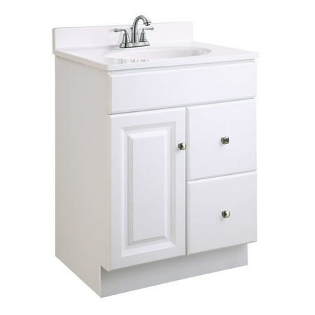 Rectangular Vanity Top (Design House 545004 Wyndham Unassembled 1-Door 2-Drawer Vanity without Top, 24