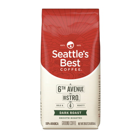 Blended Ground Coffee (Seattle's Best Coffee 6th Avenue Bistro (Previously Signature Blend No. 4) Dark Roast Ground Coffee, 20-Ounce Bag)