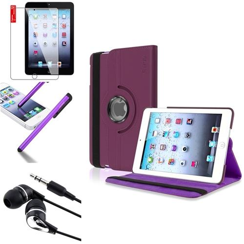 Insten 4in1 Purple 360 Swivel Leather Case Protector Headset Stylus For Apple iPad Mini 1 / 2 with Retina Display / 3