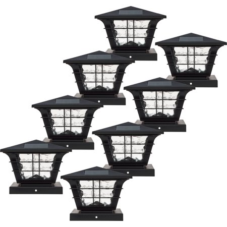 Post Base Spike (GreenLighting 5x5 Solar Powered Post Cap Light w/ 4x4 Base Adapter (8 Pack))