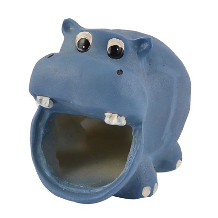 Hippie Ornaments (Pet Hamster Gerbil Hippo Shaped House Ornament Dark Blue 4cm Entrance)