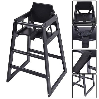 Baby High Chair Wooden Stool Infant Feeding Children Toddler Restaurant Black