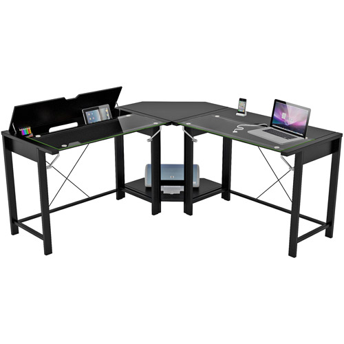 Palomar L-Shaped Computer Desk, Black, Metal and Glass, Paper Laminate