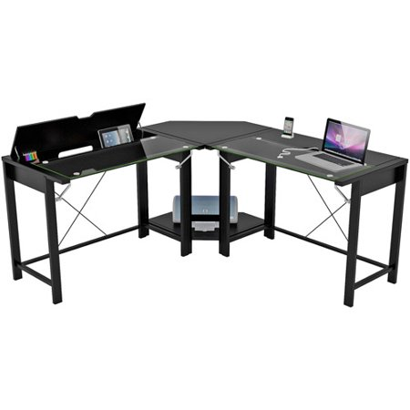 Palomar L Shaped Computer Desk Black Metal And Gl Paper Laminate