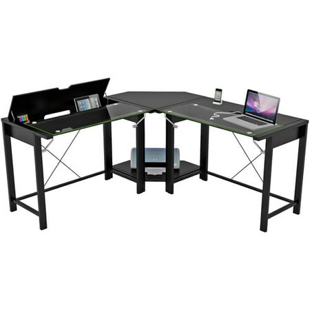 Palomar L-Shaped Computer Desk, Black, Metal and Glass, Paper ...