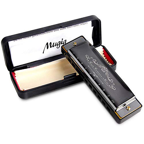 Mugig Harmonica, C Key Harmonica for Beginners or Kids, 10 Holes 20 Tones, 1.2mm Plate Structure, Stainless Steel Cover, Blues Harmonica with Carry Box, Black (Standard)
