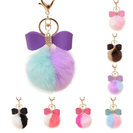 Obstce Faux Rabbit Fur Ball Pom Pom Bowknot Charm Car Keychain Handbag Phone Key Ring