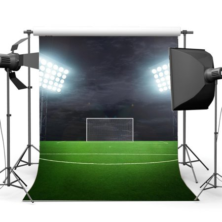 GreenDecor Polyster 5x7ft Photography Backdrop Football Field Green Grass Sports Theme Backdrops for Baby Kids Adult Children Boys Game Background Photo Studio - Sports Themed Backdrops