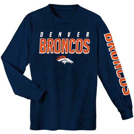 Youth Navy Denver Broncos Sleeve Hit Long Sleeve T-Shirt