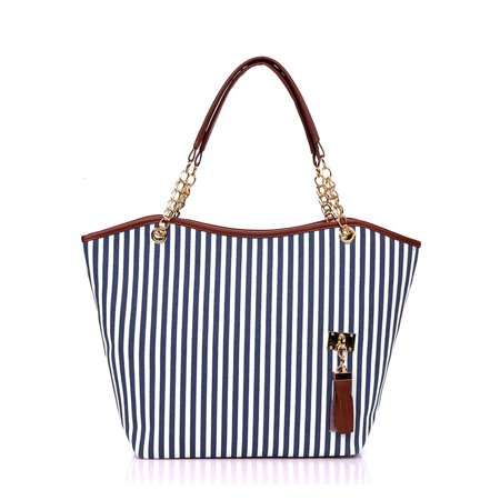 Woman Vertical Stripes Faux Leather-Trimmed Tassels Decor Tote