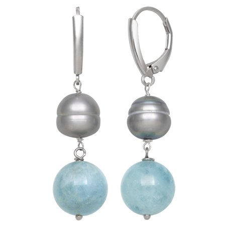 8.5-9.5mm Dyed Grey Cultured Freshwater Pearl and Milky Aquamarine Drop Earrings