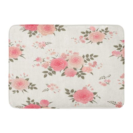 SIDONKU Pink Flower Floral Bouquets of Roses Vintage for Shabby Chic Pattern Green Pastel Doormat Floor Rug Bath Mat 23.6x15.7 inch ()