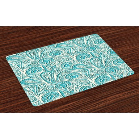 Teal and White Placemats Set of 4 White Lace Style Pattern Feminine Fashion Romantic Composition Print, Washable Fabric Place Mats for Dining Room Kitchen Table Decor,Turquoise White, by Ambesonne