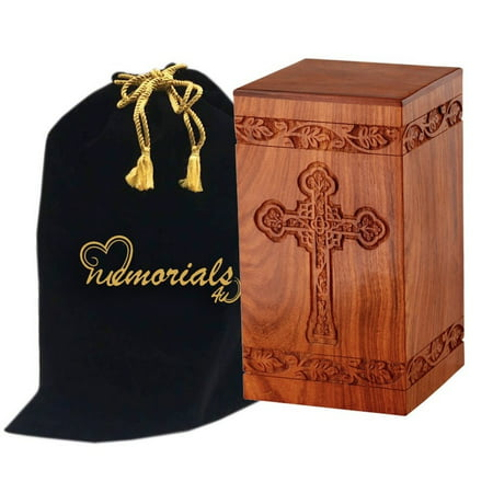Solid Rosewood Cremation Urn with Hand-Carved Cross Design for Human Ashes - Celtic Cross Wooden Urn - Adult Wood Funeral Urn Handcrafted and Engraved - Affordable Urn for Ashes - Wood Urn Rose Design Urn