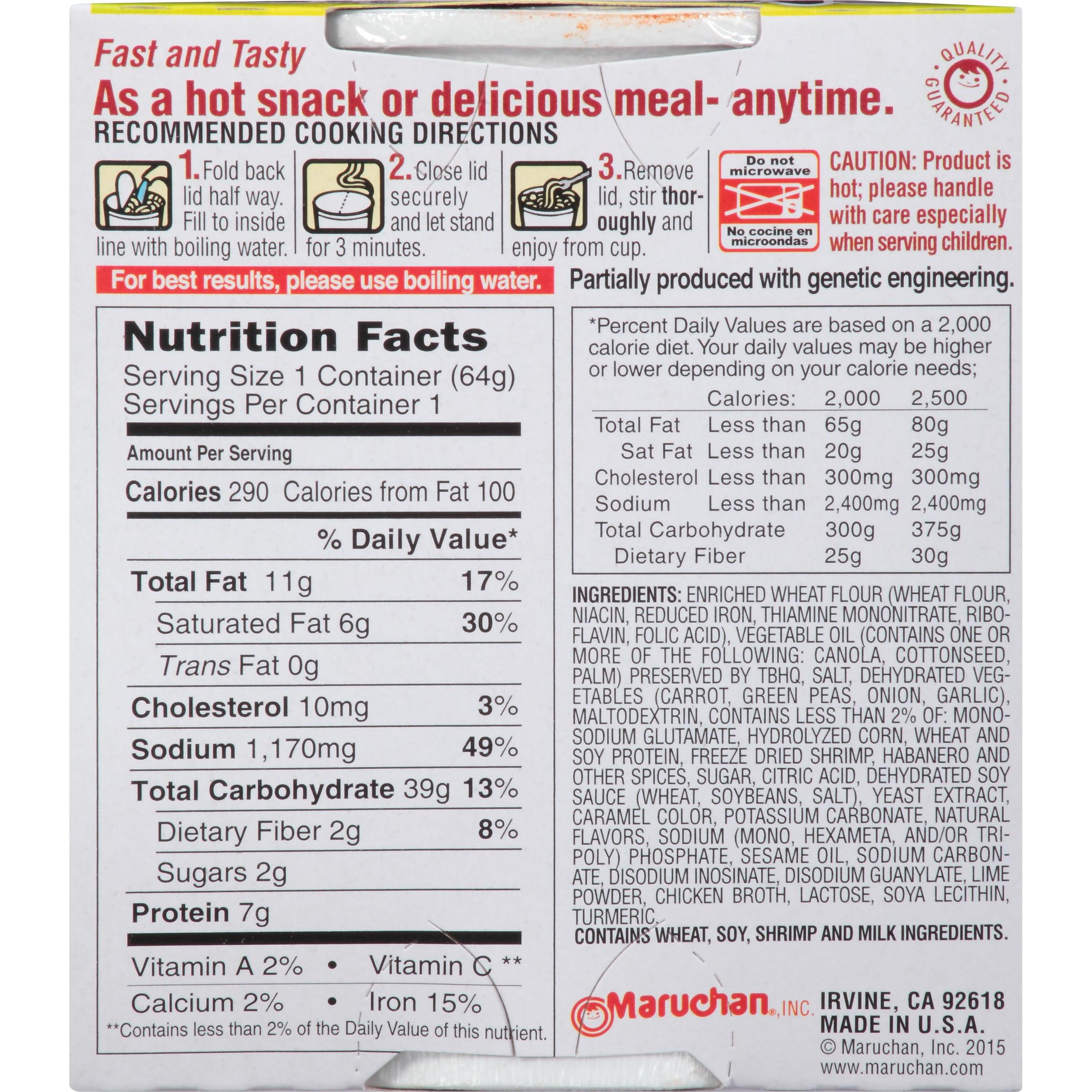 Top ramen noodles nutrition facts